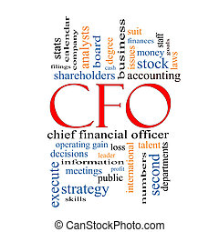 CFO Word Cloud Concept with great terms such as leader,...
