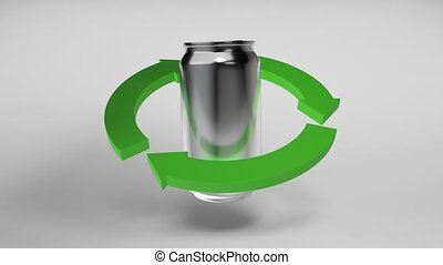 CG animation of an aluminium can rotating inside of recycle sign on white background. Seamless 3D animation loop rendering.
