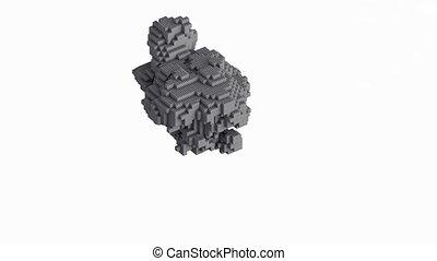 Cg animation of the explosion of bricks, blocks. It has ...
