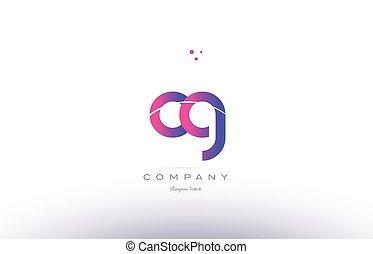 Cg C G Pink Modern Creative Alphabet Letter Logo Icon Template