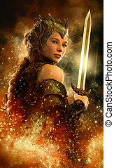 cg, espada, fuego, 3d