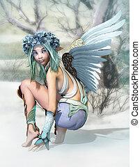 cg, invierno, ángel, 3d