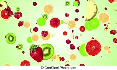 fruits falling on color background - cg particles fruits...