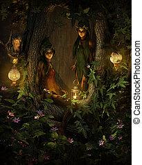 cg, pixies, árvore, dois, noturna, 3d