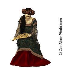 cg, vrouw, boek, lezende , 3d