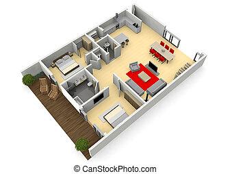 cgi, apartamento, moderno, hogar, vista, o, 3d