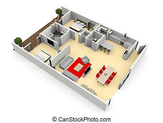 cgi, appartement, oeil, floorplan, maison, moderne, oiseaux, vue, ou, 3d