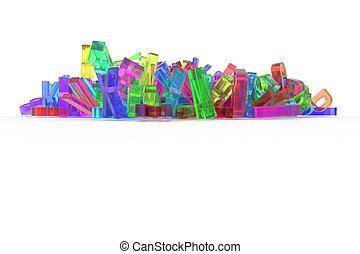 cgi, bueno, alfabeto, y, lío, palabra, abc., communication., fondo., tipografía, diseño, carta, 3d, decorativo, ilustraciones, textura