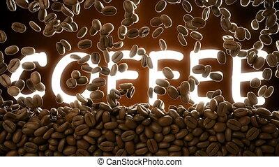 cgi, café, mot, couverture, métrage, haricots, rôti, tomber...