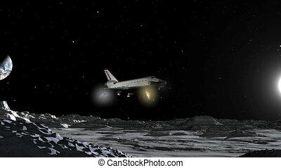 cgi, espace, atterrissage, lune, navette, hd
