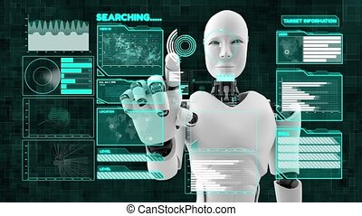 cgi, intelligence, futuriste, données, artificiel, robot, grand, programmation, analytics