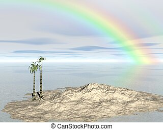 Computer Generated Image of a Small Island with Palm Trees