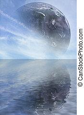 cgi, planeta, océano