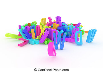 CGI typography, letter of ABC, alphabet for design texture, background. 3d, mess, kindergarten & graphic.