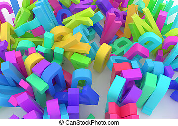CGI typography, letter of ABC, alphabet for design texture, background. Business, graphic, modeling & stack.