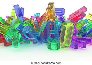 CGI typography, letter of ABC, alphabet for design texture, background. Colorful, pile, mess & modeling.