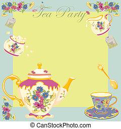 chá, ajardine parte, convite