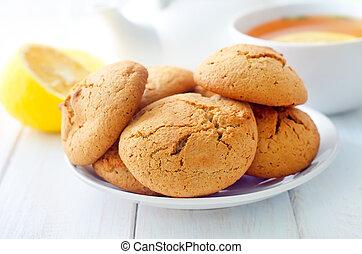 chá, biscoitos, fresco, doce