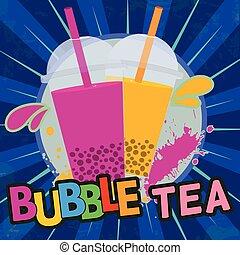 chá, bolha, retro, cartaz