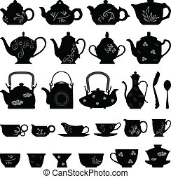 chá, bule, copo, asiático, oriental