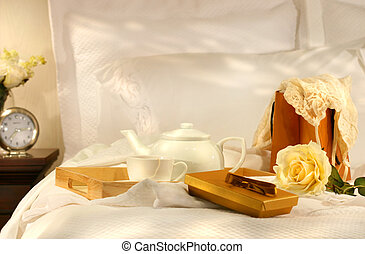 chá, cama, com, chocolates