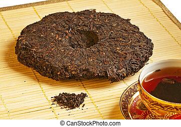 chá, chinês, pu-erh
