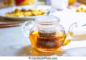 chá, claro, aromático, quentes, vidro, herbário, tabela