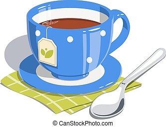 chá, colher, copo