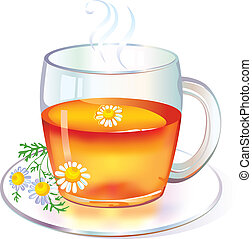chá, com, chamomile