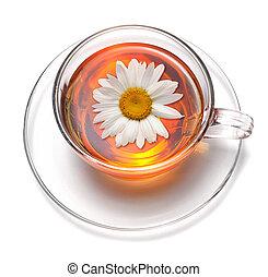 chá, com, flor