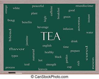 chá, conceito, palavra, nuvem, quadro-negro