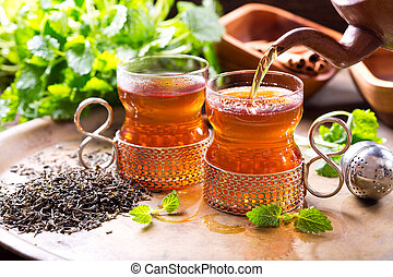 chá, despejar, vidro