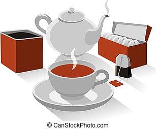 chá, diferente, tipo