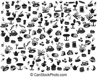 chá, doodle, café, seamless, padrões