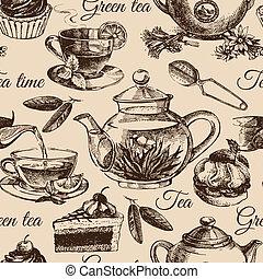 chá, e, bolo, seamless, pattern., mão, desenhado, esboço,...