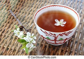 chá, e, flor