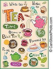 chá, elementos, desenho