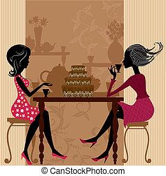 chá, em, a, café, com, bolo