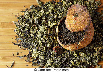 chá, envelhecido, tangerina, verde, pu-erh