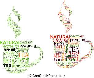 chá, etiquetas, nuvem, com, copo, forma