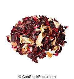 chá, framboesas, casca, orange., fruta, mix., hibisco, candied