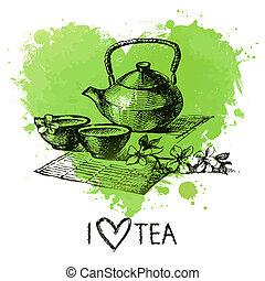 chá, fundo, com, respingo, aquarela, coração, e, esboço, .,...