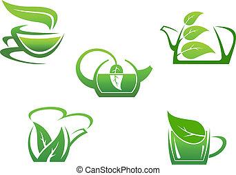 chá herbário, copos, verde