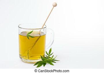 chá herbário, folhas, marijuana, cannabis