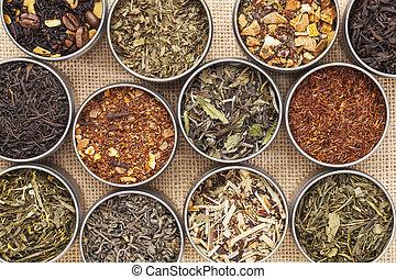 chá herbário, pretas, verde, branca