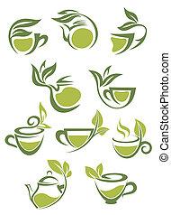 chá herbário, verde, ou, ícones