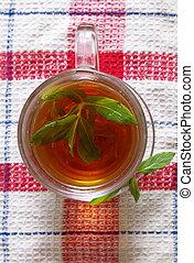 chá, hortelã, copo