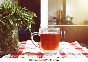 chá, hortelã, luz solar
