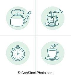 chá, instruções, guia, infusão