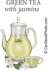 chá, jasmine, verde, bule, vidro